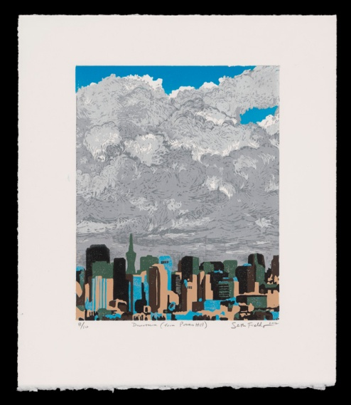 """Downtown from Potrero Hill (14"""" x 11"""") , $225 (edition of 10)"""